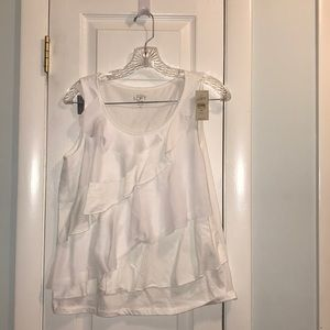 NWT loft white blouse with ruffle detail
